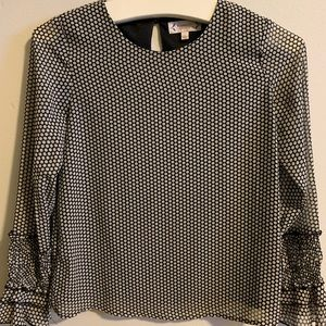 Polka dot long sleeve blouse light ruffle sleeve